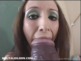 Horny College Coed With Miniskirt Fucks Herself With Huge Toy