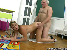 Naughty Teen Gets Punished By Teacher In Old And Young