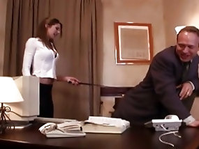 Skinny secretary fucked by her boss on his working desk